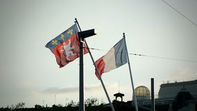 French Republic Flag and Rhone-Alpes flag on sunset stock video footage