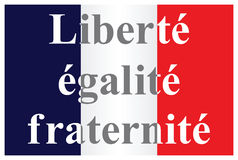 The French Republic flag. Text translation liberty equality fraternity isolated on white background vector illustration