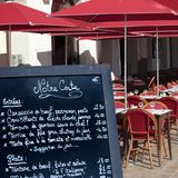 French restaurant cafe menu board South of France. French restaurant menu board South of France Royalty Free Stock Images
