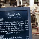French restaurant cafe Paris France menu board square. French restaurant Paris France menu board square Royalty Free Stock Photos