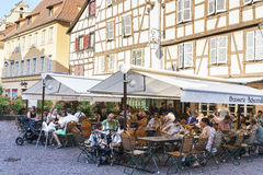 French restaurant in Colmar, Alsace, France Stock Image