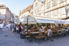 French restaurant in Colmar, Alsace, France Stock Photography