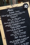 French restaurant menu Stock Photography