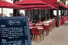 French restaurant menu board South of France provence eating outside Royalty Free Stock Images