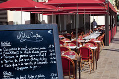 French restaurant menu board South of France, sunny sidewalk cafe Stock Photography
