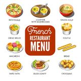 French restaurant menu that includes only traditional national food. Famous ratatouille, jullienne with mushrooms, onion soup, tender souffle, french bread Royalty Free Stock Images