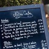 French restaurant Paris France menu board closeup square. French restaurant Paris France menu board closeup Stock Photos