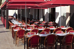 French restaurant provence South of France sunny tables and chairs sidewalk cafe Royalty Free Stock Images