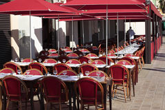 French restaurant South of France, tables and chairs, sidewalk cafe Stock Photography