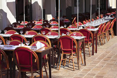 French restaurant South of France, tables and chairs, sidewalk cafe Royalty Free Stock Image