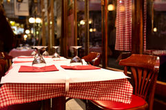 French restaurant - tables and glasses Stock Photo