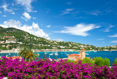 French reviera, Villefranche-sur-Mer. Cote d'Azur, french reviera, view of luxury resort and bay of Villefranche-sur-Mer near Nice and Monaco Royalty Free Stock Photos