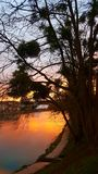 French river. Sunset on the Marne river in France Stock Photo