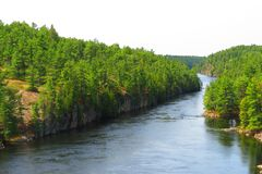 French river from a suspension bridge stock photography