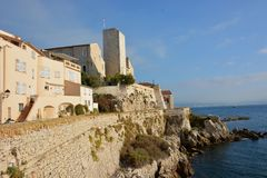 French Riviera, Antibes, Grimaldi castle, ramparts. On the french riviera in Antibes the old town is surrounded with ramparts, the Grimaldi castle shelters the stock photo