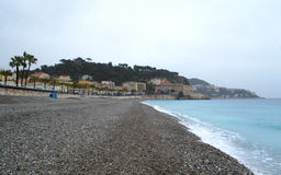 French Riviera beach at rainy day Royalty Free Stock Images