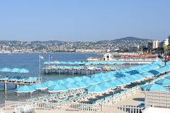 French riviera, beaches and bay of Juan les Pins. On the french riviera, Juan Les Pins is a famous sea resort for the water skiing, its sandy beaches and its royalty free stock photo