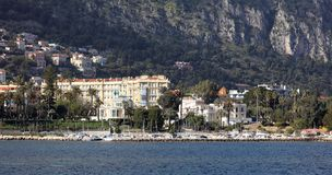 Nice French riviera, Côte d`Azur, mediterranean coast, Eze, Saint-Tropez, Cannes and Monaco. Blue water and luxury yachts. French riviera, Côte d`Azur royalty free stock photos