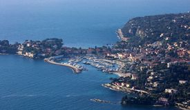 Nice French riviera, Côte d`Azur, mediterranean coast, Eze, Saint-Tropez, Cannes and Monaco. Blue water and luxury yachts. French riviera, Côte d`Azur royalty free stock photography