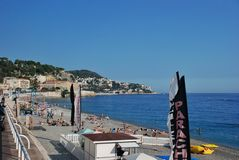 French Riviera, city beach in Nice France Stock Photography