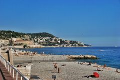 French Riviera, city beach in Nice France Stock Photos