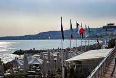 French Riviera, city beach in Nice France Royalty Free Stock Photo