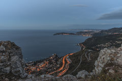 French Riviera coastline. Sunrise on the French Riviera between Monaco and Nice Royalty Free Stock Photos