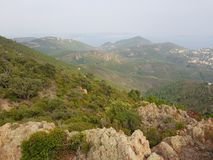 French riviera Cote d`azur mountains. French riviera Cote d`azur landscape from mountain near pics de l`ours Stock Photo