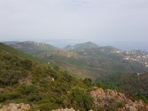 French riviera Cote d`azur mountains. French riviera Cote d`azur landscape from mountain near pics de l`ours Royalty Free Stock Photography