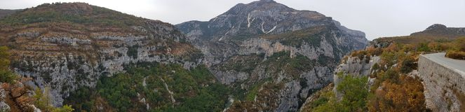 Verdon Gorge canyon in France. French riviera Cote d`azur landscape from mountain near pics de l`ours Royalty Free Stock Photography