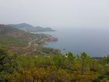 French riviera Cote d`azur mountains. French riviera Cote d`azur landscape from mountain near pics de l`ours Stock Image