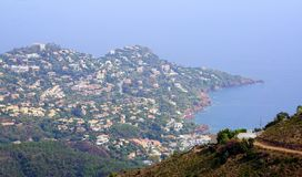 French riviera Cote d`azur mountains. French riviera Cote d`azur landscape from mountain near pics de l`ours Royalty Free Stock Photo