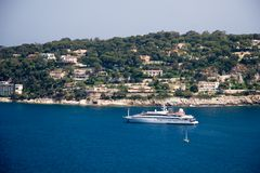 French Riviera lagoon. With luxury yachts Stock Photography