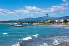 View of French Riviera. French Riviera, the Mediterranean coastline of the southeast corner of France Stock Photo