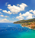 French riviera, Mediterranean Sea. Villefranche by Nice. French riviera, Mediterranean Sea. view of luxury resort and bay of Cote d'Azur. Villefranche by Nice Stock Photography