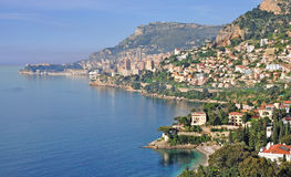 French Riviera,Monaco,France. The french riviera with monaco in the background,south of france Royalty Free Stock Image