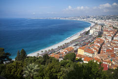 The French Riviera Nice France beach. The French Riviera Cote dazur Nice France beach on famous Promenade des Anglais hotel lined boulevard. Aerial view of Stock Photo
