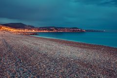 French Riviera in the night Stock Photo