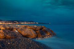 French Riviera in the night Royalty Free Stock Photo