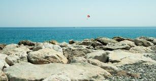 French riviera parachuting. Sea parachute at french riviera Stock Images