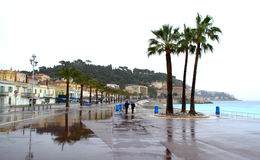 French Riviera rainy day promenade Stock Images