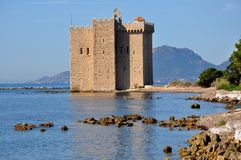 French Riviera, Saint Honorat island, Fortified Monastery. On the french riviera in front of Cannes, the fortified monastery on the Lerins islands was built on royalty free stock image