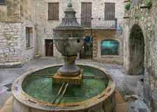 French Riviera, Saint-Paul-de-Vence village, medieval fountain Royalty Free Stock Photo