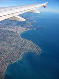 French Riviera from the Sky. An aerial view of Nice Airport and French riviera from an airplane, flying back to US Royalty Free Stock Images
