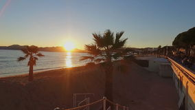 French Riviera at sunset. Cote d'Azur at sunset in Cannes, France stock footage