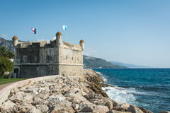French Riviera town Menton medieval fortification Stock Image