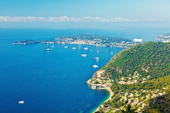French riviera. Turquoise sea and blue sky Stock Images