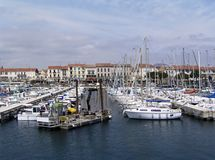 French Riviera view. Boats' tugging on a port of  French Riviera, France Stock Photos
