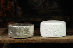French roquefort cheese. Roquefort cheese in refining in a typical cellard Stock Images
