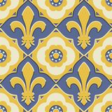 Retro Revival french ornate, fleur de lis in a geometric pattern. French royal abstract fleur de lis pattern in a seamless vector swatch, in mustard yellow and Stock Image